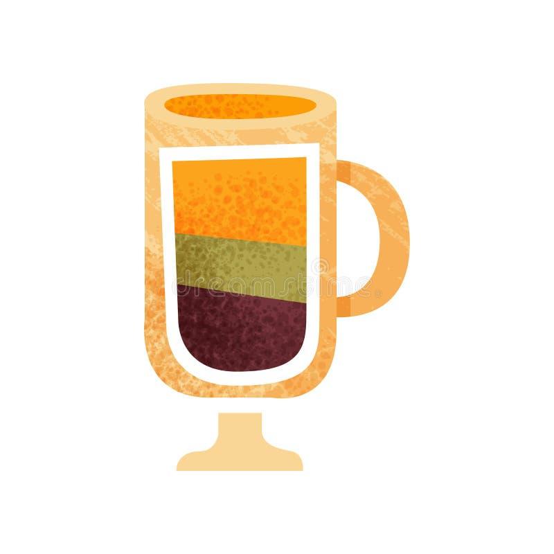 Вкусное наслоенное питье в стекле с ручкой Сладостный напиток в прозрачной чашке Значок с текстурой Плоский дизайн вектора иллюстрация штока