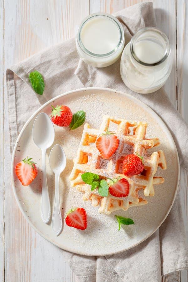 Вкусные вафли с напудренным сахаром и сладкими плодами стоковая фотография rf