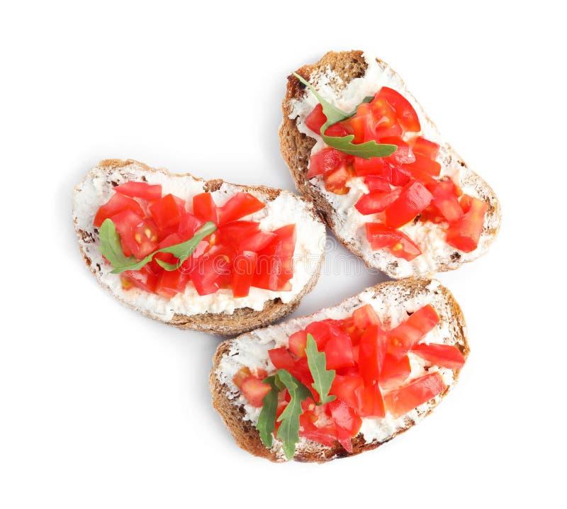 Вкусные завтраки на белом фоне, сверху стоковое изображение