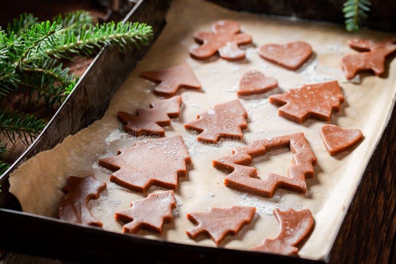 Вкусные и ароматичные печенья пряника для рождества на печь подносе стоковые изображения