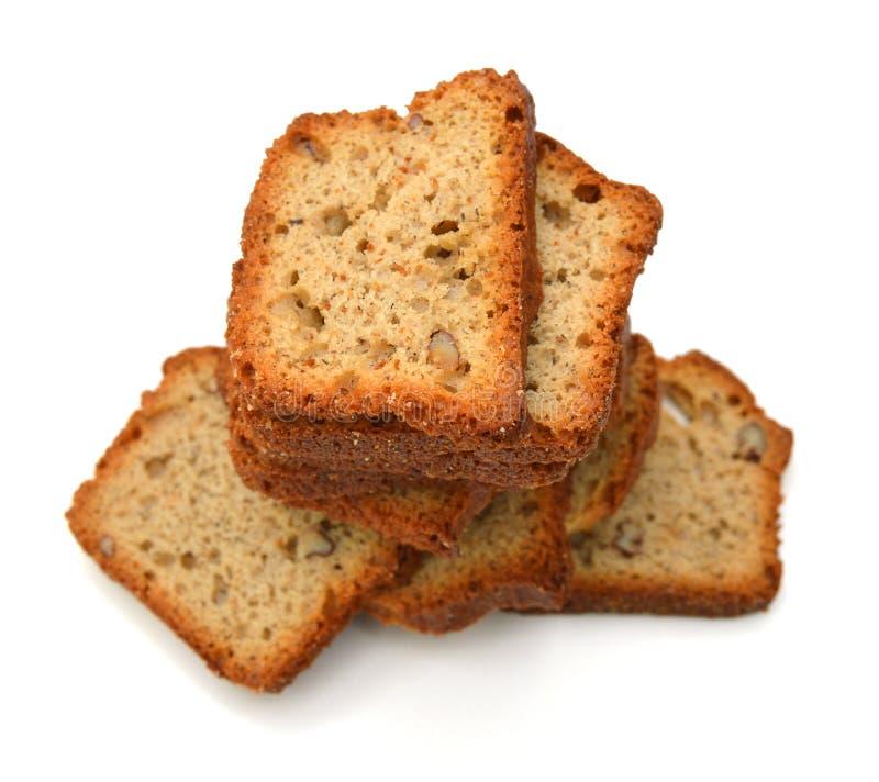 Вкусные куски хлеба гайки банана стоковая фотография rf