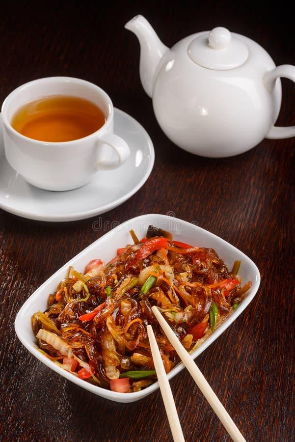 Вкусные лапши риса для вегетарианцев стоковое фото