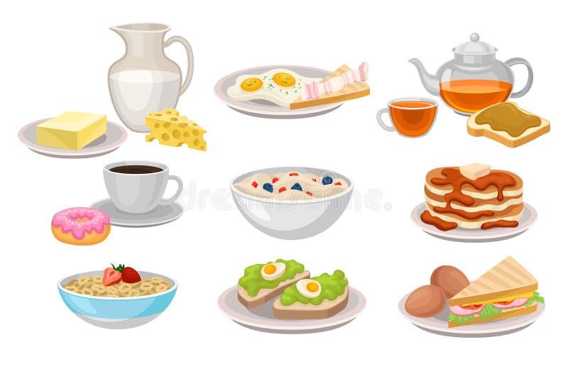 Вкусные молочные продучты завтрака, хлопья и овсяная каша мозоли, блинчики и донут с кофе, сандвичами и яичницами бесплатная иллюстрация