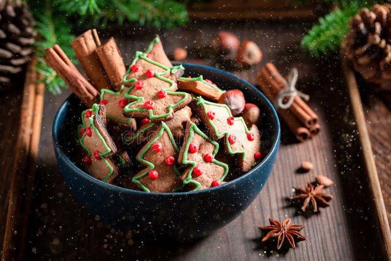 Вкусные печенья пряника для рождества на деревенском подносе стоковая фотография