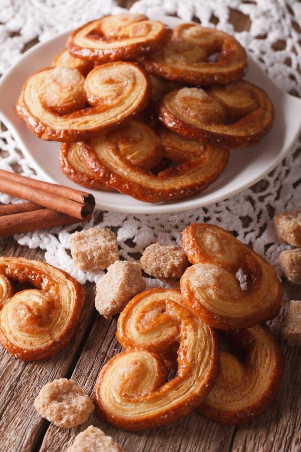 Вкусные печенья Palmiers с концом-вверх сахара и циннамона, vertica стоковая фотография