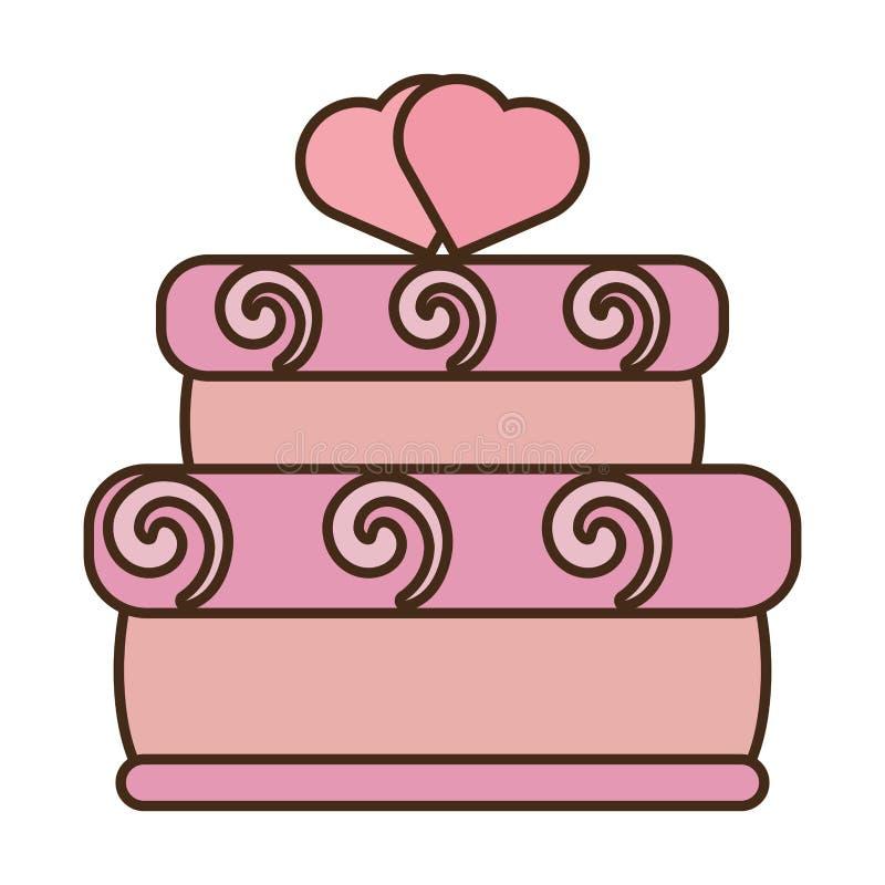 Вкусные розовые сердца торта 2 wedding значок иллюстрация вектора
