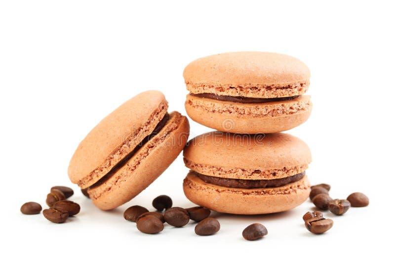Вкусные macarons кофе стоковые изображения rf