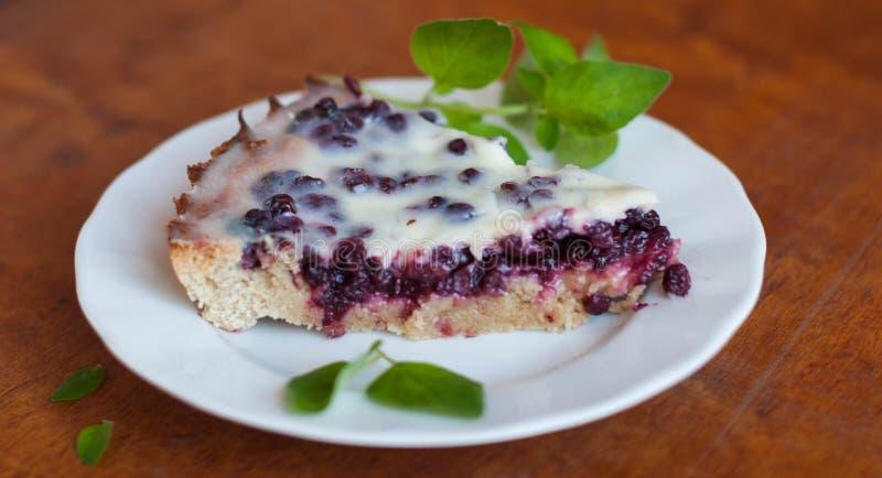 Вкусный пирог cowberry на плите стоковые изображения rf