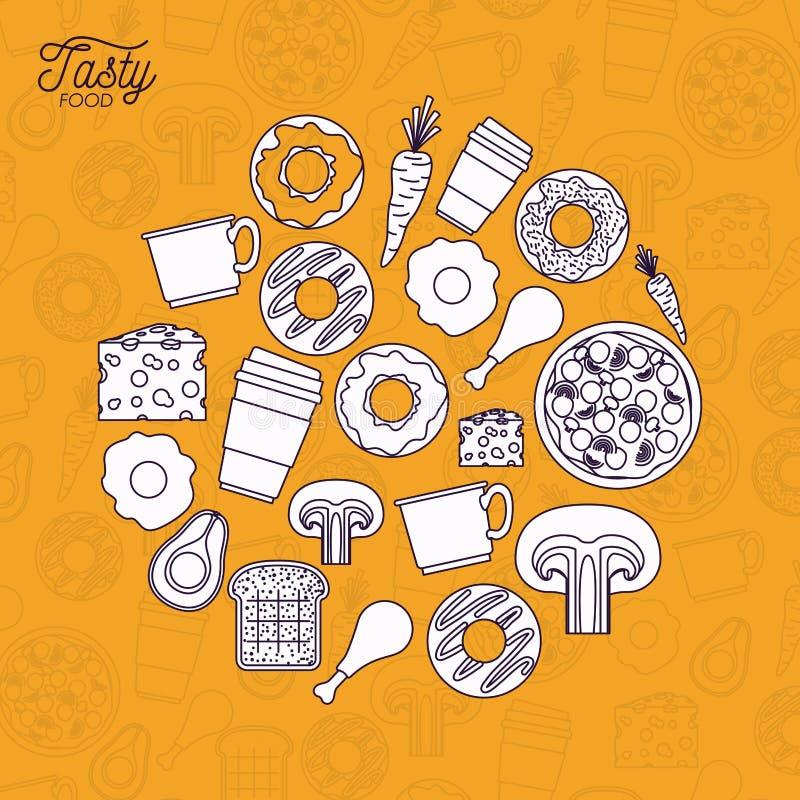 Вкусный плакат еды в оранжевой предпосылке с вкусной едой в белом цвете иллюстрация штока
