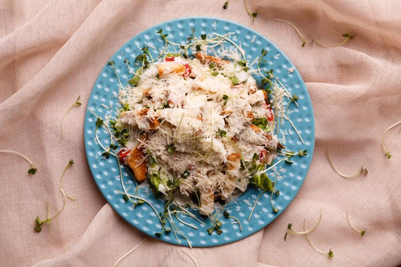 Вкусный салат цезаря на плите стоковое изображение rf
