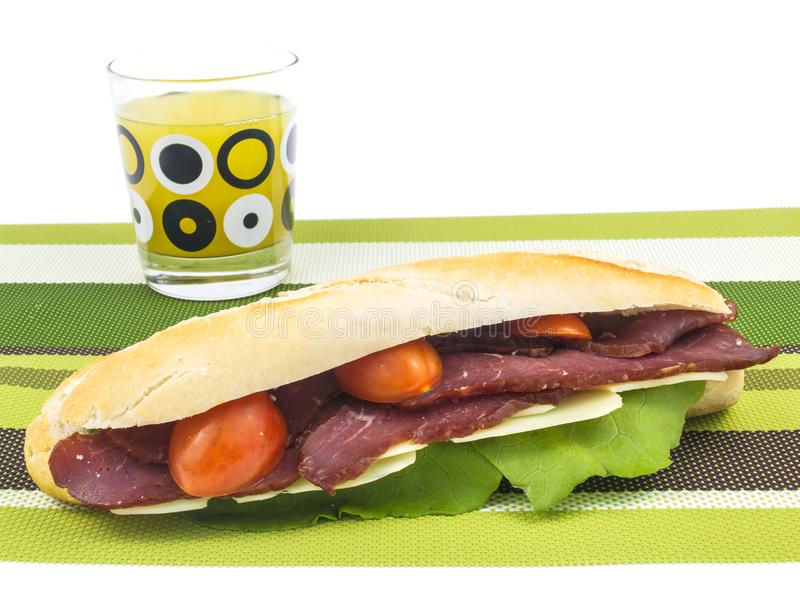 Вкусный сандвич подводной лодки говядины стоковое фото