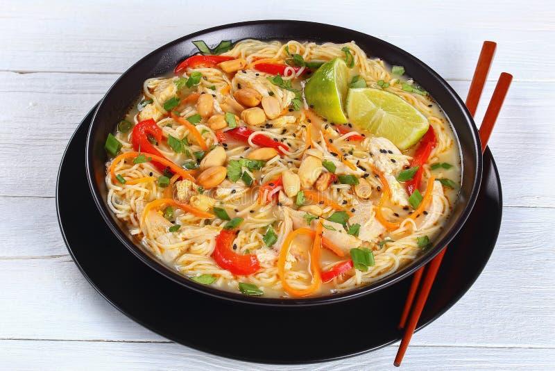 Вкусный тайский суп лапши цыпленка, конец-вверх стоковая фотография rf