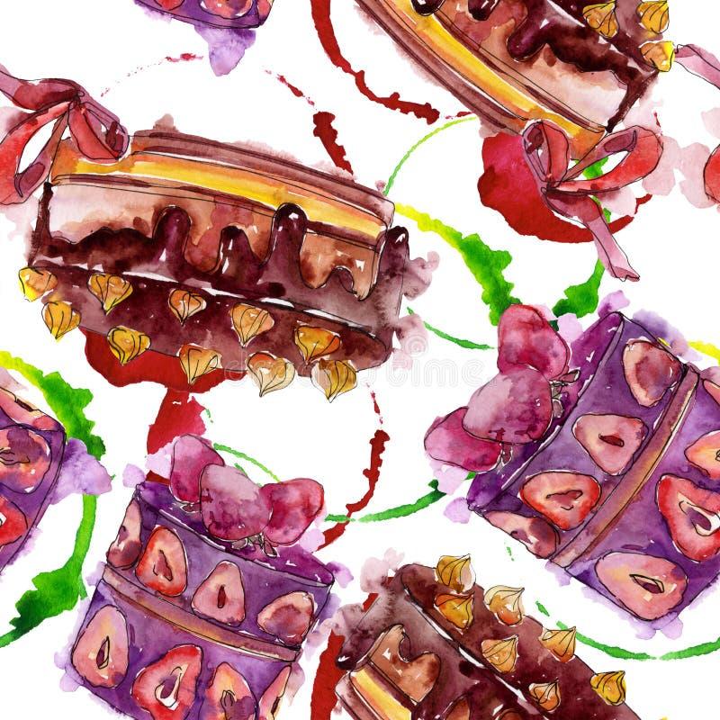 Вкусный торт с изолированными плодами в стиле акварели Сладкая иллюстрация десерта r стоковая фотография