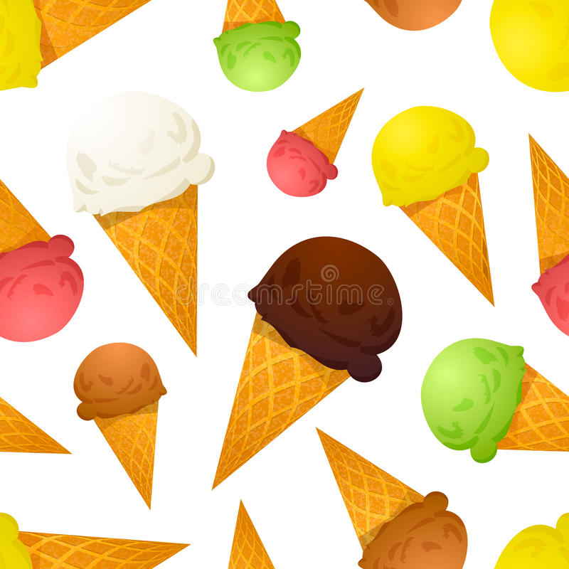 Вкусы ярких красочных конусов мороженого различные, безшовная картина иллюстрация штока