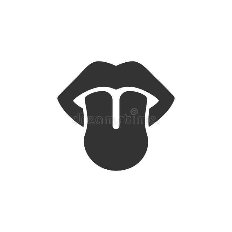 Вкус чувств тела Значок языка на белой предпосылке иллюстрация штока