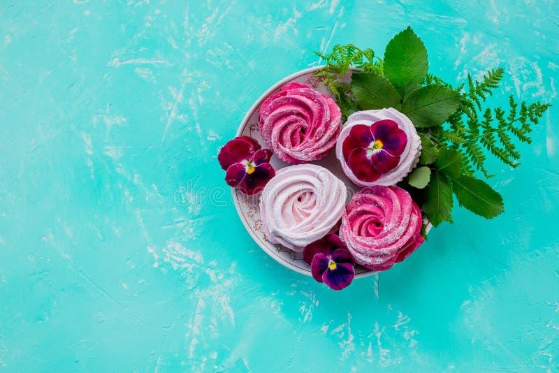 Вкус ягоды зефира, розовый цвет zephyr на предпосылке бирюзы чаепитие сладкий десерт, шоколадный батончик Чувствительный стоковые изображения