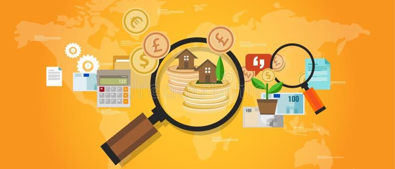 Вклад недвижимости дома денег фонда имущества иллюстрация штока