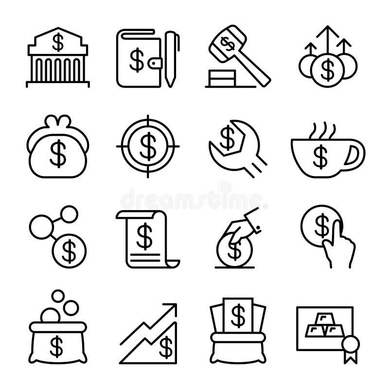 Вклад, финансовые, сохраняя деньги, экономический значок установил в тонкое иллюстрация штока