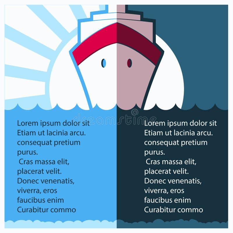 Вкладыш туристического судна в голубом море также вектор иллюстрации притяжки corel иллюстрация вектора