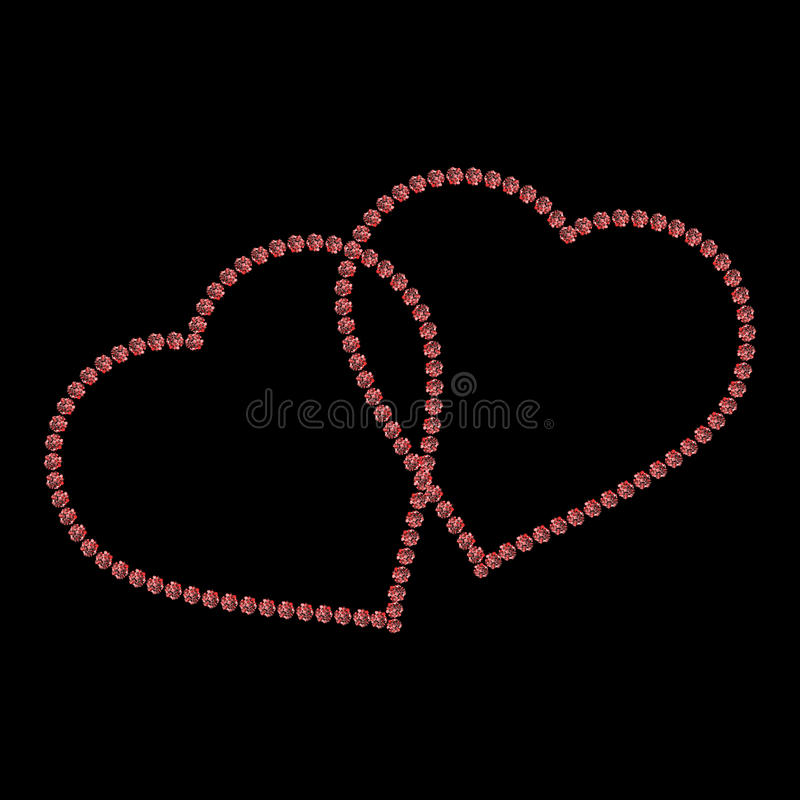 включенная икона сердца архива 8 eps Золотой силуэт яркого блеска, форма знака металла изолированный на черной предпосылке также  иллюстрация вектора