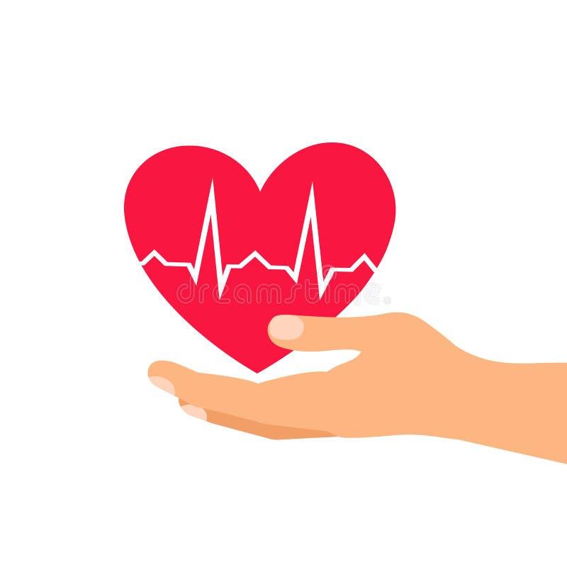 включенная икона сердца архива 8 eps Здравоохранение вручает держать сердце плоский значок для apps и вебсайта иллюстрация вектора