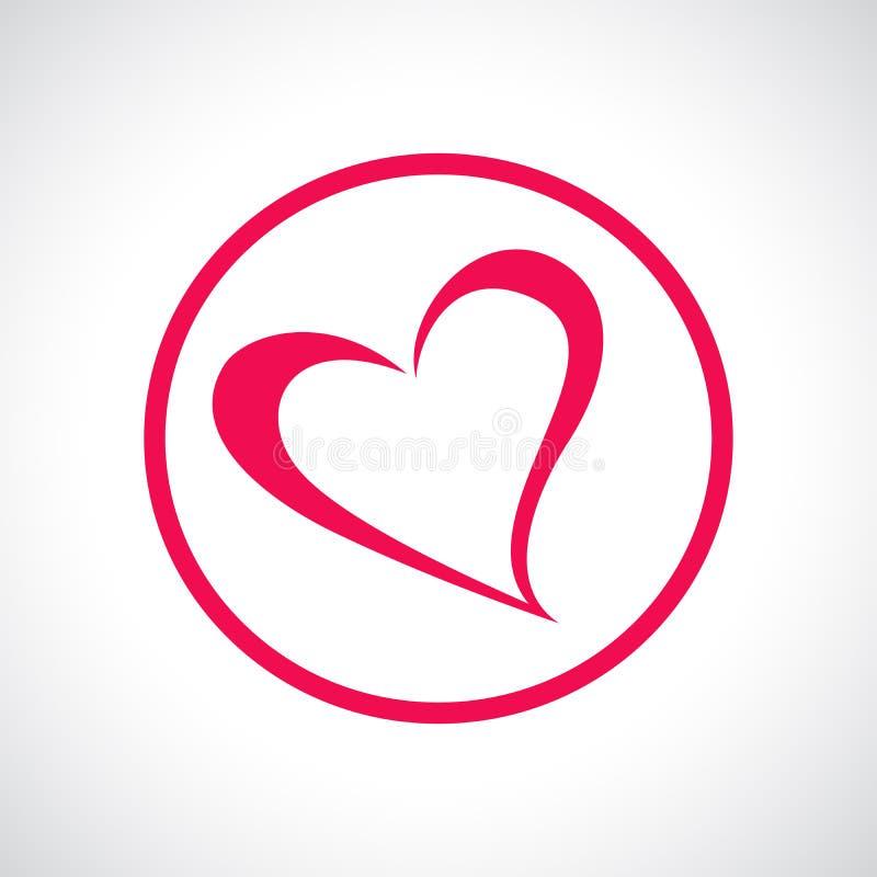 включенная икона сердца архива 8 eps Розовый плоский символ в круге иллюстрация вектора