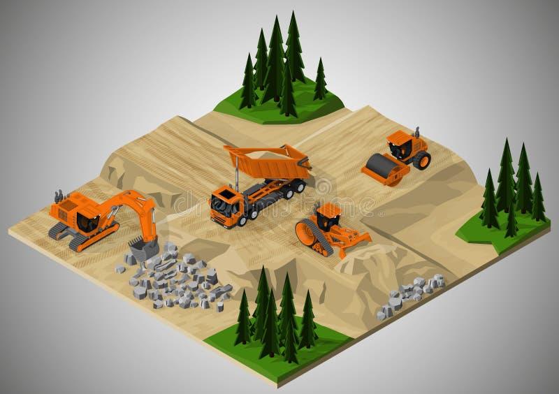 Включили строительство дорог и машинное оборудование, который иллюстрация вектора