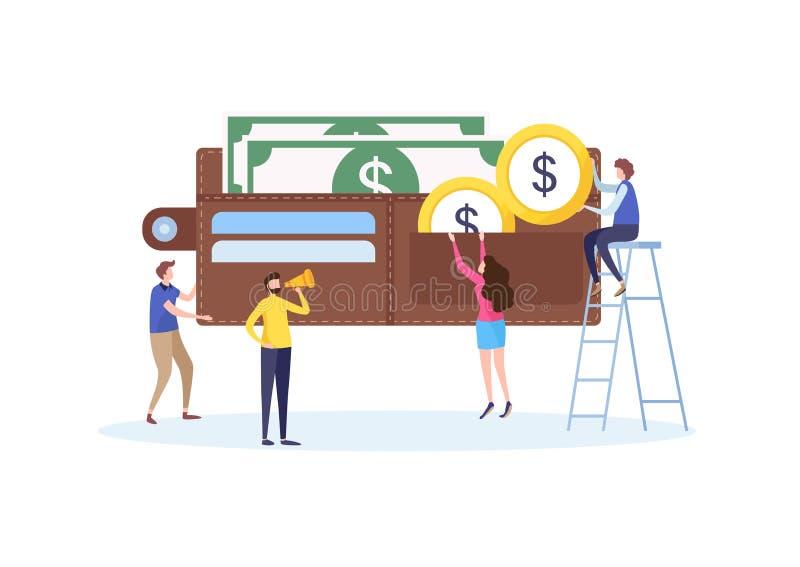 Владение мини людей деньги к большому бумажнику, вкладу, сбережениям, экономике Концепция дела финансовая Плоский вектор шаржа иллюстрация штока