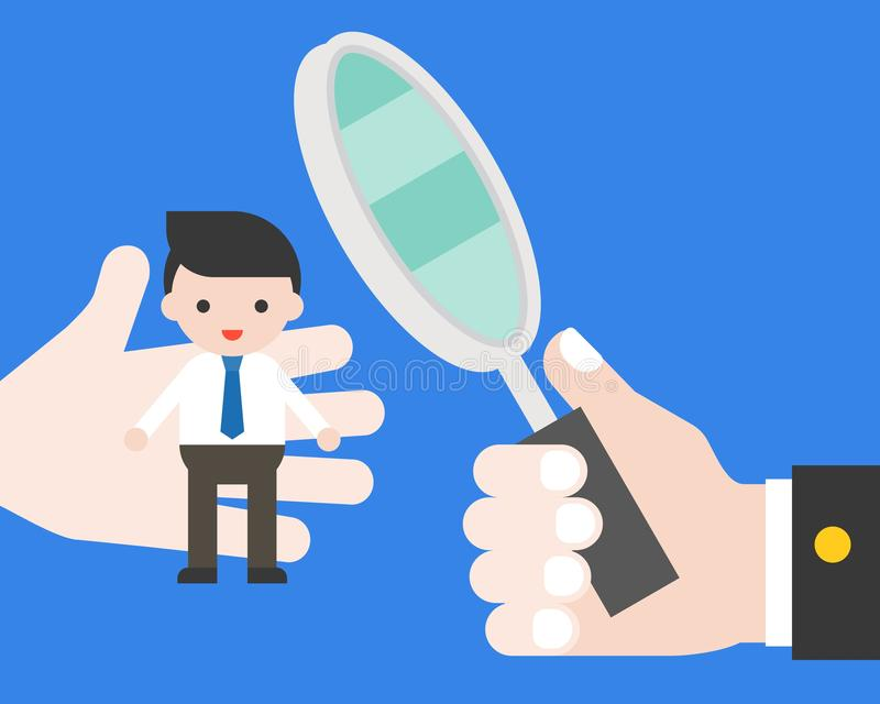 Владение руки увеличивает стекло для выбирает качество человека и развертки, мам hr иллюстрация штока