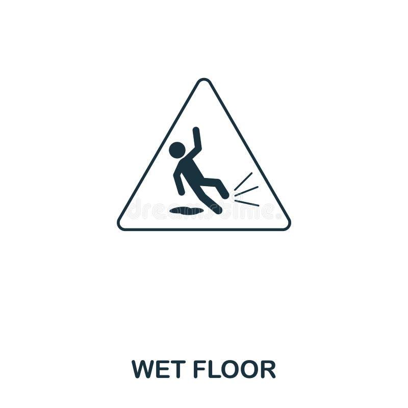 Влажный значок пола Линия дизайн значка стиля Ui Иллюстрация влажного значка пола пиктограмма изолированная на белизне Подготавли бесплатная иллюстрация