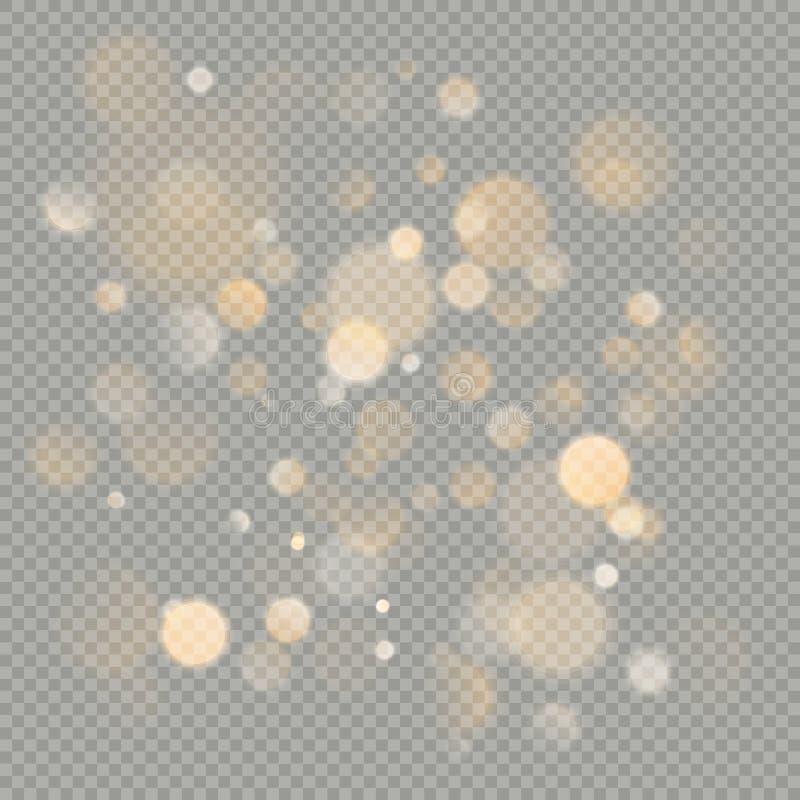 Влияние изолированных кругов bokeh на прозрачной предпосылке Элемент яркого блеска рождества накаляя теплый оранжевый который мож иллюстрация штока