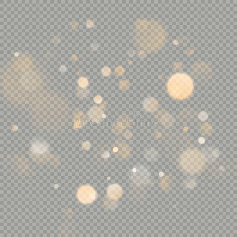 Влияние изолированных кругов bokeh на прозрачной предпосылке Элемент яркого блеска рождества накаляя теплый оранжевый который мож иллюстрация вектора