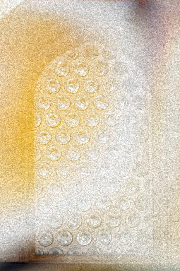 Влияние краски масла на средневековом окне мечети Ottoman с цитроном и, который сгорели янтарными цветами стоковые изображения