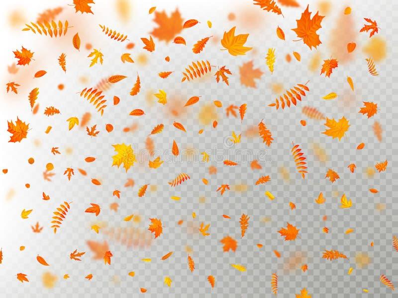 Влияние листьев осени падая наслаивает с мелкой нерезкостью DOF Осенний шаблон падения листвы цвет теплый 10 eps бесплатная иллюстрация