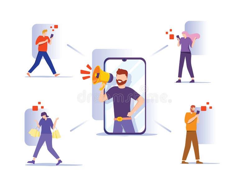 Влияние на маркетинг Потенциальные покупатели продуктов или покупатели потребительских товаров, интернет-компания иллюстрация штока
