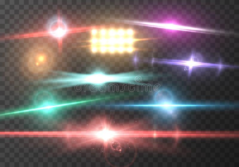 Влияние пирофакела объектива вектора Взрыв реалистического пирофакела Солнця вектора прозрачный иллюстрация вектора