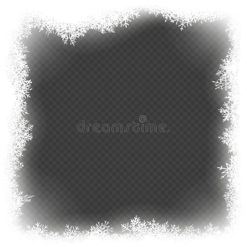 Влияние рамки рождества с белый накалять светлый и снежинками 10 eps иллюстрация вектора