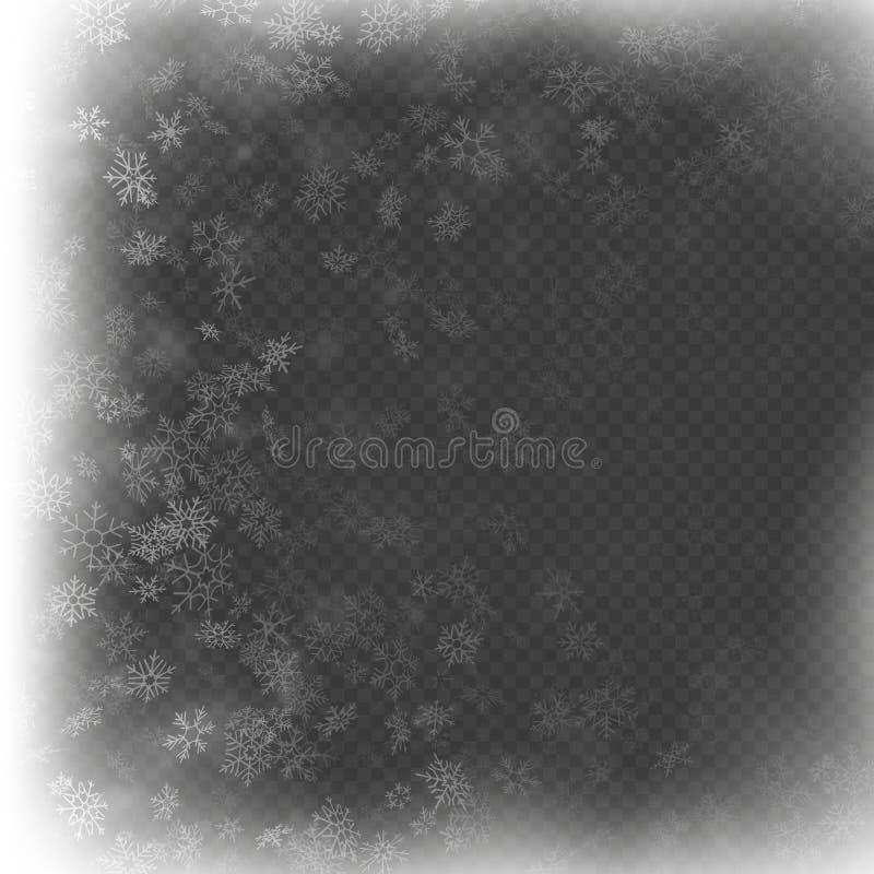 Влияние рамки рождества с белый накалять светлый и снежинками 10 eps иллюстрация штока