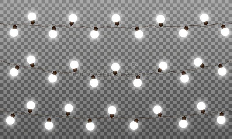 Влияния вектора светов рождества Гирлянда ламп СИД для Нового Года и Xmas Изолированные гирлянды вектора белых светов иллюстрация вектора