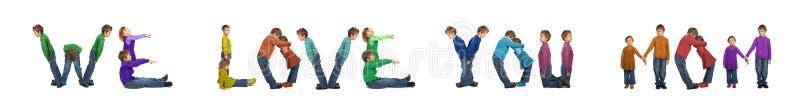 влюбленность девушки коллажа мальчика делая маму формулирует вас иллюстрация вектора