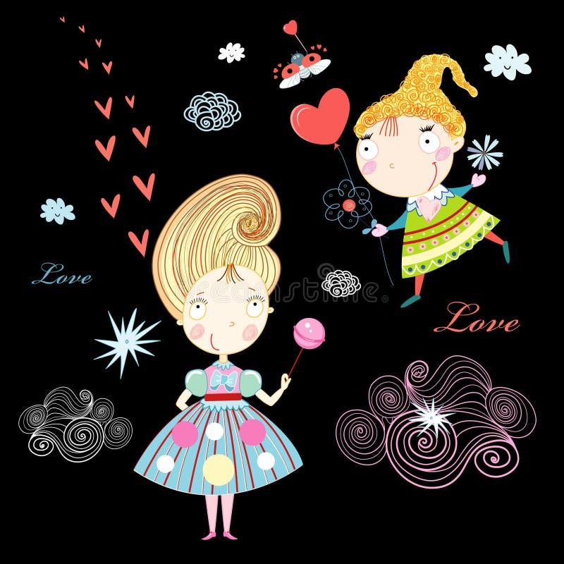 влюбленность девушок бесплатная иллюстрация