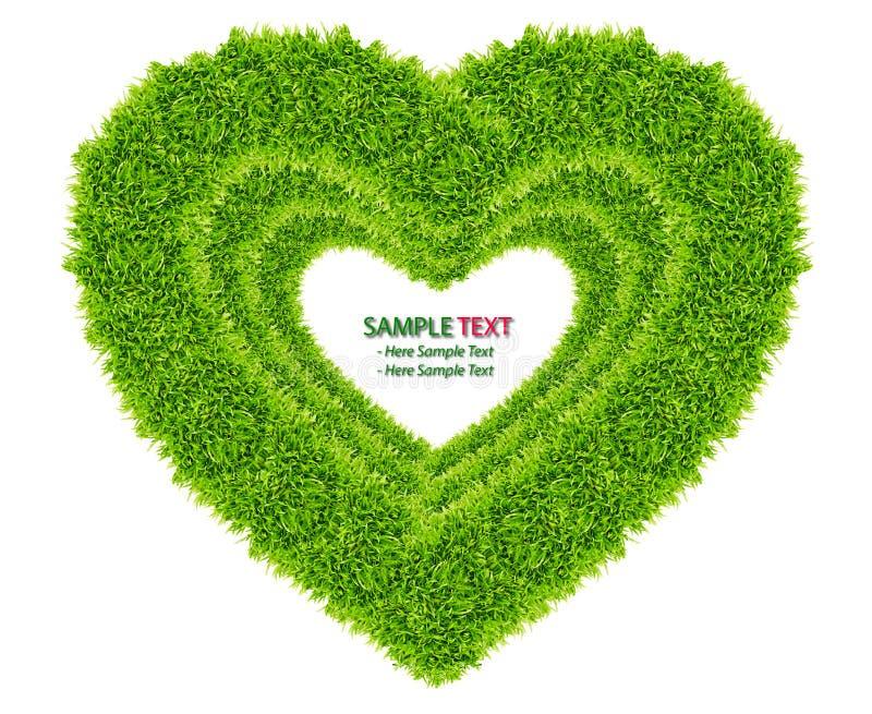 влюбленность зеленого цвета травы рамки изолированная сердцем стоковые фото