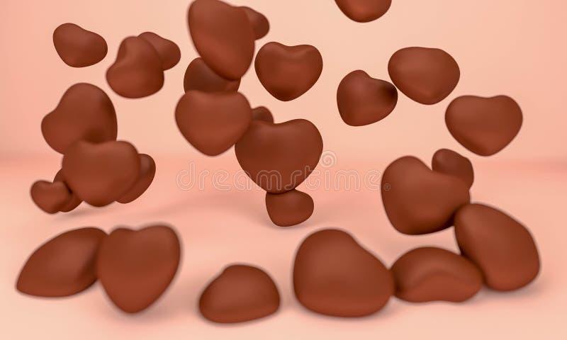 Влюбленность и любовник сердца для перевода валентинки 3D иллюстрация вектора