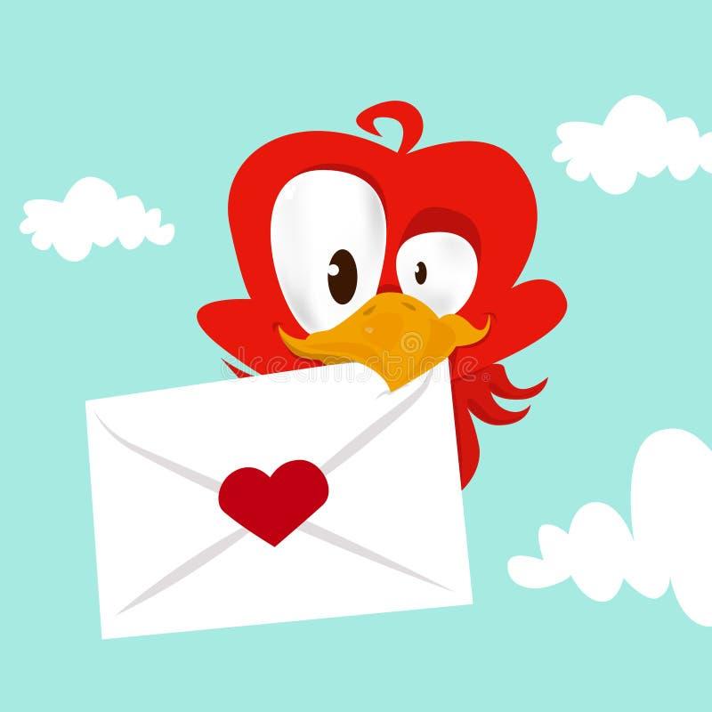 влюбленность карточки птицы иллюстрация вектора