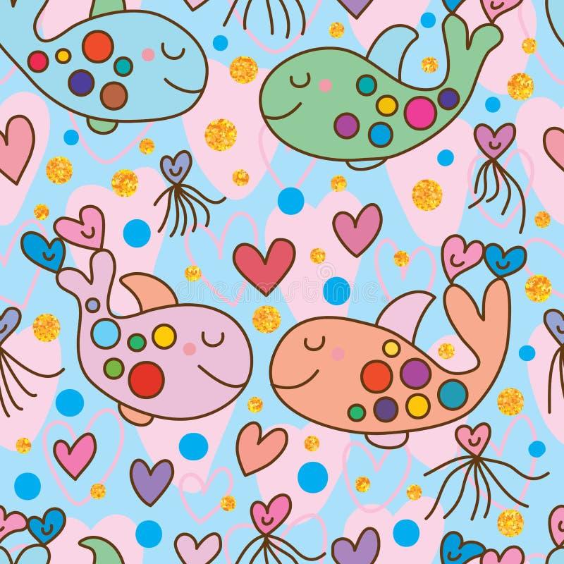 Влюбленность кита двойная безшовная иллюстрация вектора