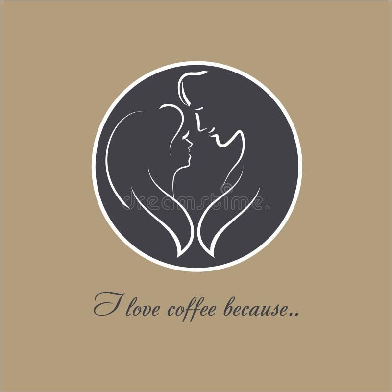 Влюбленность кофе логотипа вектора 2 силуэта романтичной пары в влюбленности Верхняя часть кофейной чашки с изображением молодые  бесплатная иллюстрация