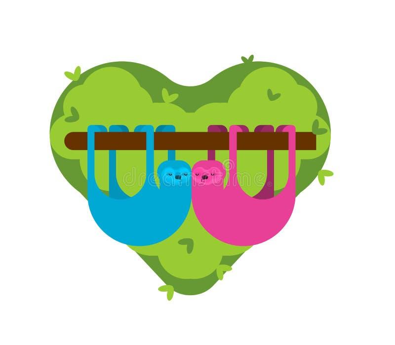 Влюбленность лени Мультфильм 2 lazybones животный Любовники пар 14-ое февраля St День ` s Валентайн иллюстрация вектора