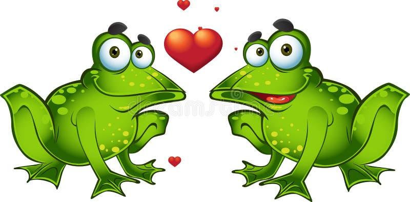 влюбленность лягушек зеленая иллюстрация вектора