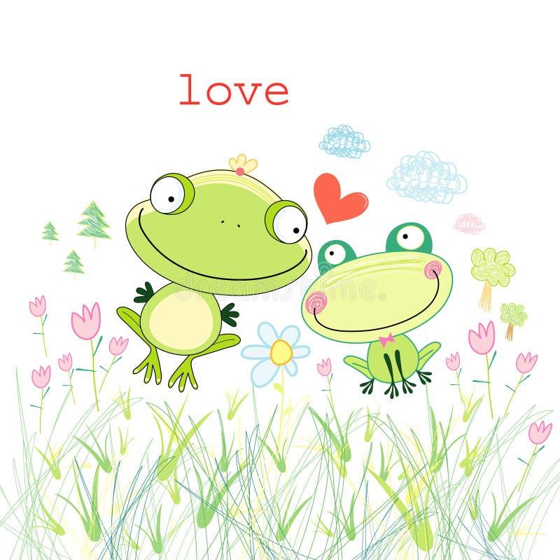 влюбленность лягушек иллюстрация штока