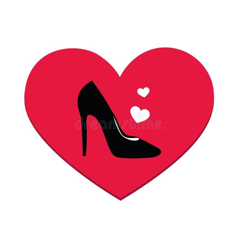 Влюбленность моды высокой пятки черноты ботинка ` s женщин бесплатная иллюстрация